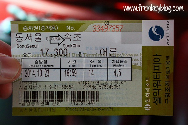 Ticket Bus Seoul - Sokcho