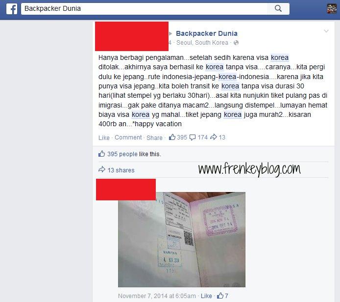 Testimonial Visa Transit Korea Selatan, Sumber : Grup Backpacker Dunia - Facebook