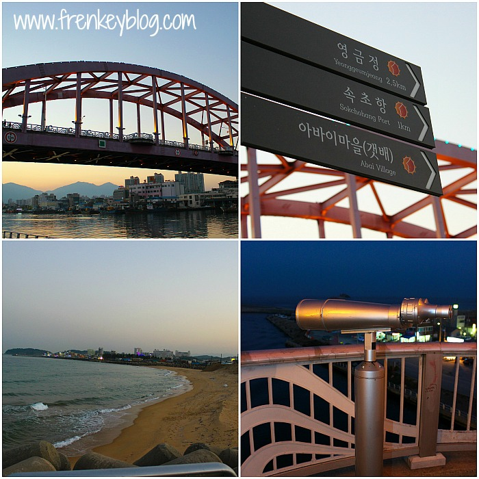 Jembatan menuju Abai Village, Plang Penunjuk Jalan, Sokcho Beach, Teropong Gratisan
