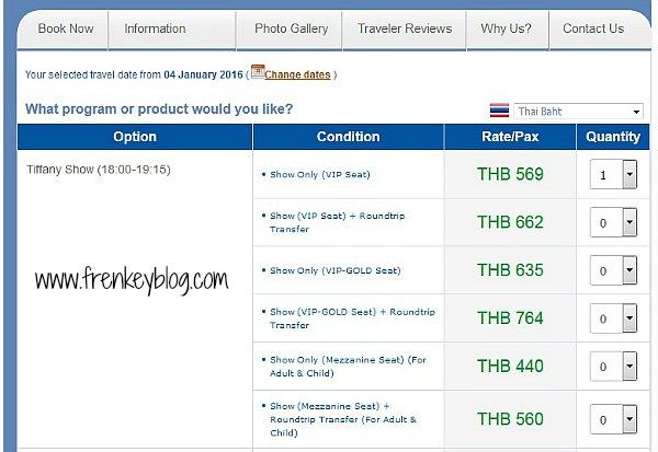 Harga Tiket Tiffany Show Pattaya