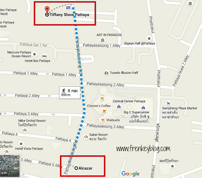 Map Tiffany Vs Alcazar Show Pattaya
