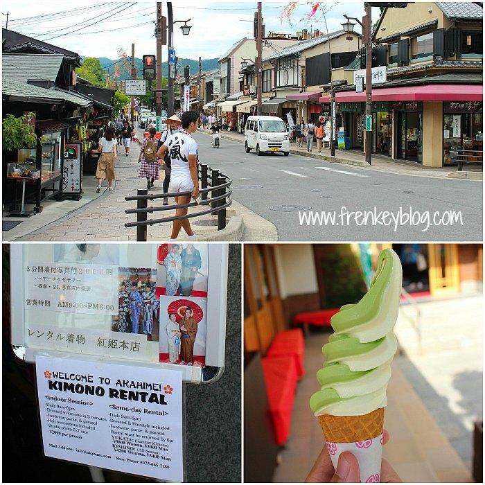 Sightseeing Arashiyama, Jasa Rental Kimono, Ice Cream Matcha Vanilla Nyummy