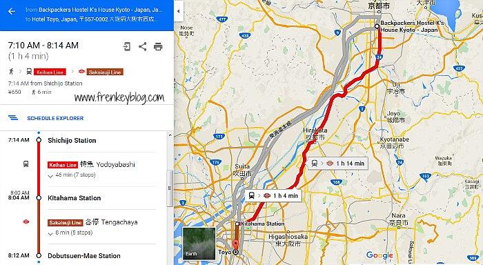 Cara Menuju Hotel Toyo Osaka dari Hostel K's House Kyoto