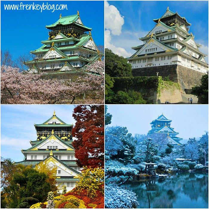 Pemandangan Osaka Castle di 4 Musim di Jepang