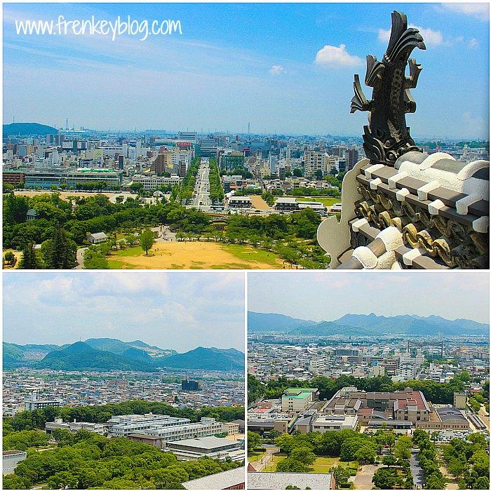 Pemandangan kota Himeji dari Himeji Castle