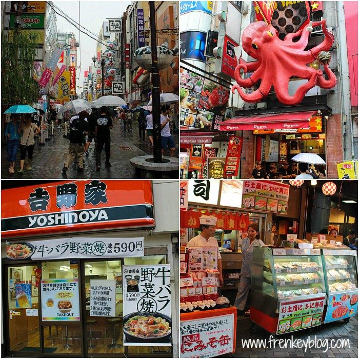 Suasana Dotonbori, Tempat Jual Takoyaki ( Patung Gurita ), Yoshinoya, Kuliner Kue Kepiting