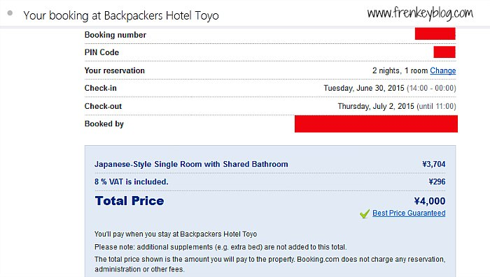 Hotel Toyo - 2 Malam = 4000Yen