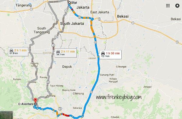 Peta Jakarta ke Sungai Cianten ( C-Aventure Spot )