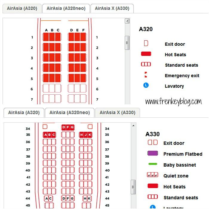 Konfigurasi Kursi AirAsia ( Atas : A320 - Bawah : A330 )