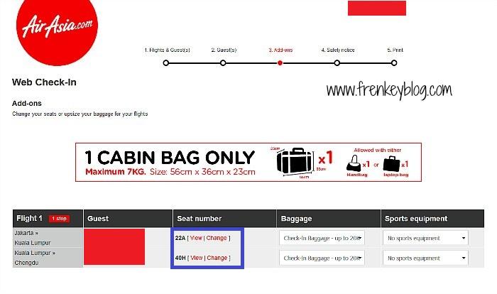 Web Check In AirAsia Ulang dan mendapat Nomor 22A dan 40H