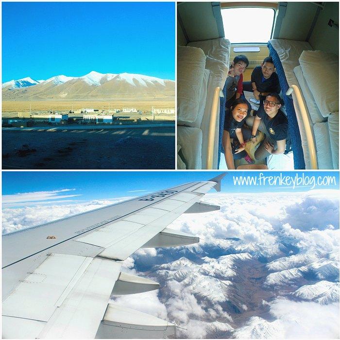 Atas : Pemandangan Indah Sepanjang Perjalanan di Kereta Sleeper - Bawah : Pegunungan Himalaya dari Lhasa ke Chengdu