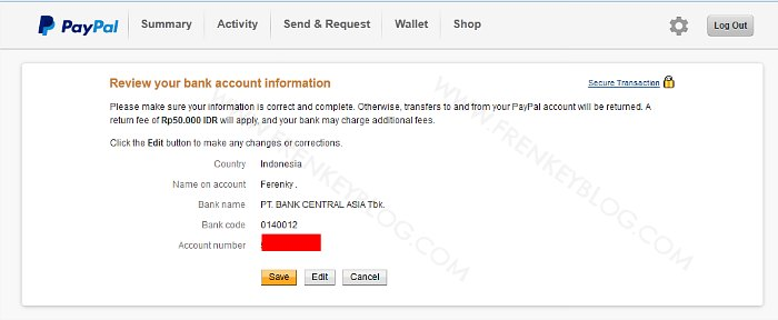 Konfirmasi Rekening Bank Tujuan ( PayPal WIthdraw )