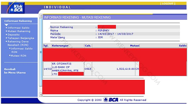 Setelah 2 Hari Kerja, Dana Sudah Masuk ke Rekening BCA ( PayPal Withdraw )