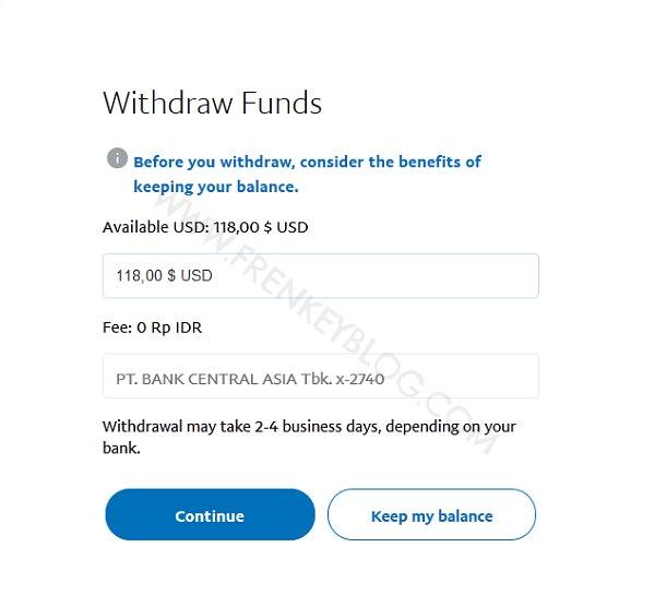 Bebas Fee jika Dana Withdraw Minimal 1.5juta Rupiah ( PayPal Withdraw )