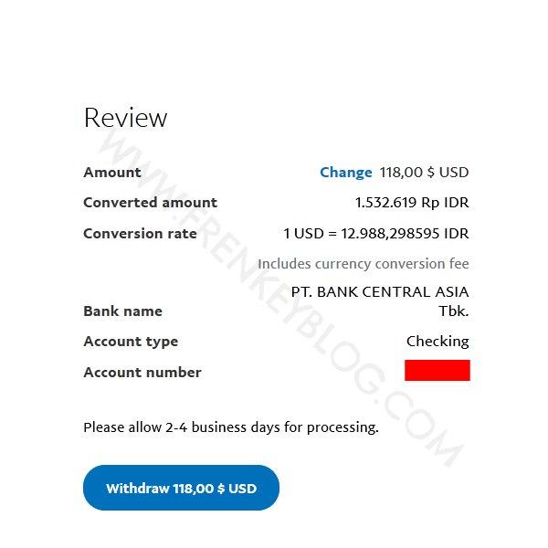 Konfirmasi Rate dan Nilai Rupiah yang akan di tarik ( PayPal Withdraw )