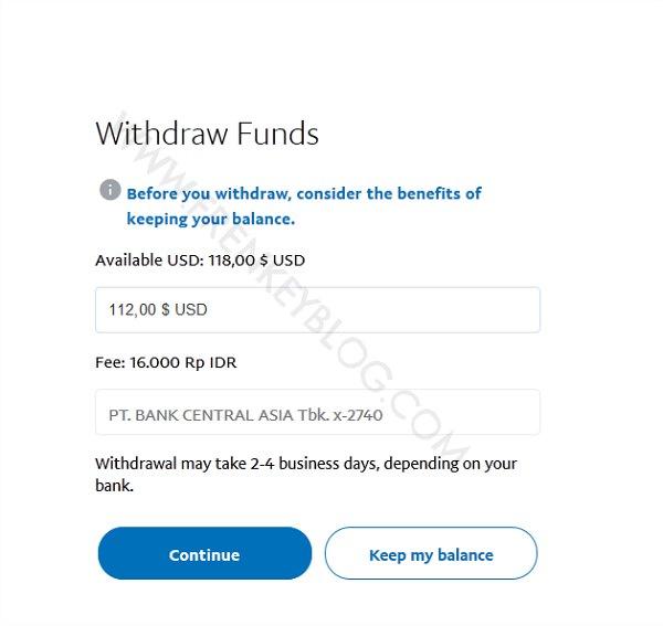 Kena Fee Rp16000 jika Dana Withdraw di bawah 1.5juta Rupiah( PayPal Withdraw )