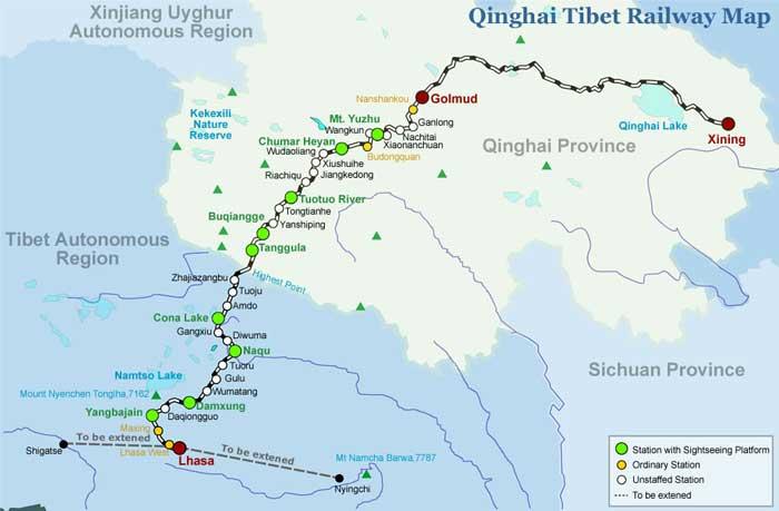 Peta Qinghai Tibet Railway ( Xining ke Lhasa )