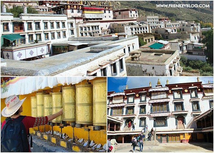 Arsitektur Bangunan dan Praying Wheel di Drepung Monastery Tibet