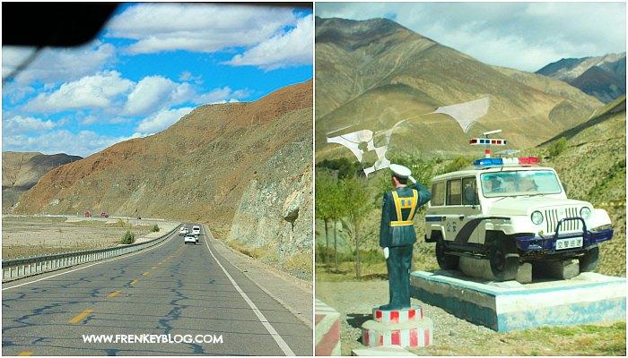 Jalanan Aspal di Tibet yang mulus & Patung Pak Polisi sebagai pengingat untuk berhati-hati dan jaga kecepatan