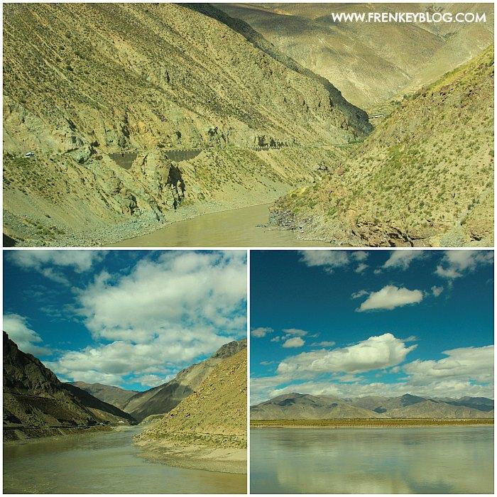Area Perbukitan dan Sungai di sepanjang perjalanan dari Lhasa ke Shigatse