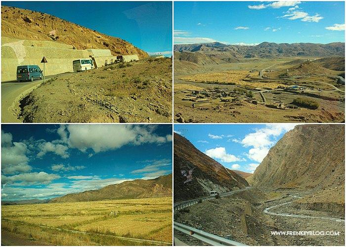 Suasana Jalan dari Shigatse ke Gunung Everest, melewati jalanan yang curam di kiri kanan nya!