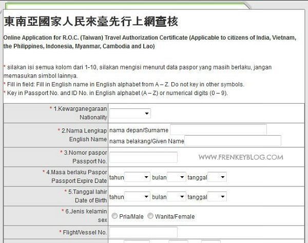 Pengisian Aplikasi Visa Online Taiwan