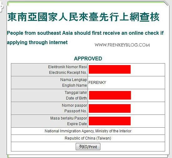 Aplikasi Visa Taiwan yang sudah di Approved