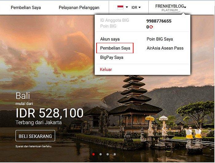 "AirAsia - Menu ""Pembelian Saya"""
