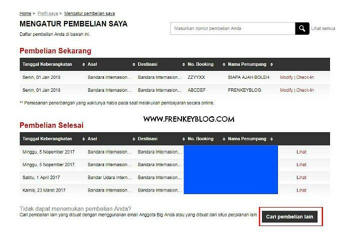 """AirAsia - Tampilan """"Mengatur Pembelian Saya"""""""