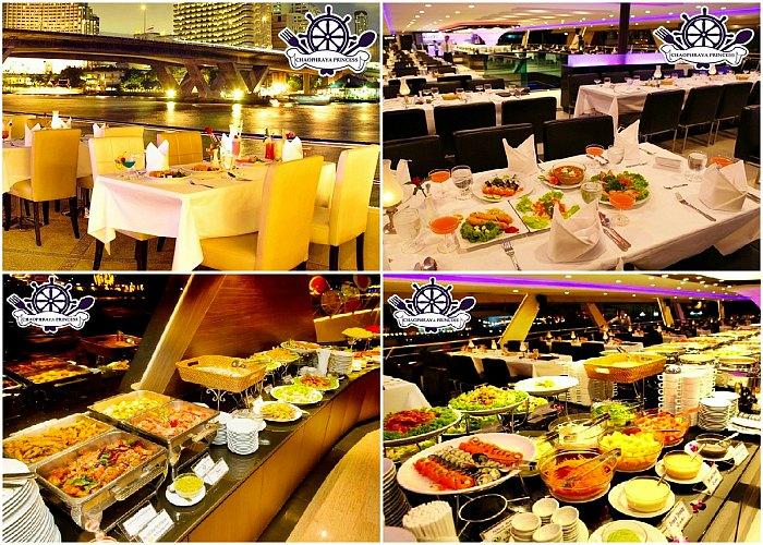Suasana Dinner di Chao Phraya Princess Cruise dan Aneka Makanan yang tersedia