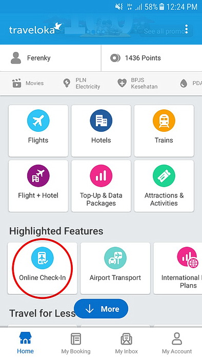 Menu Online Check-In di Aplikasi Traveloka