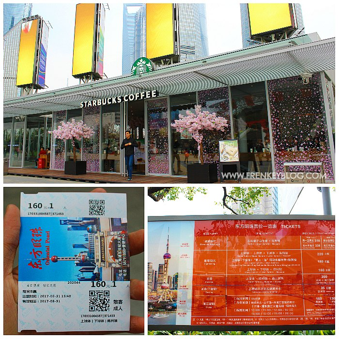 Starbucks Depan Oriental Pearl Tower - Tiket Fisik Oriental Pearl Tower