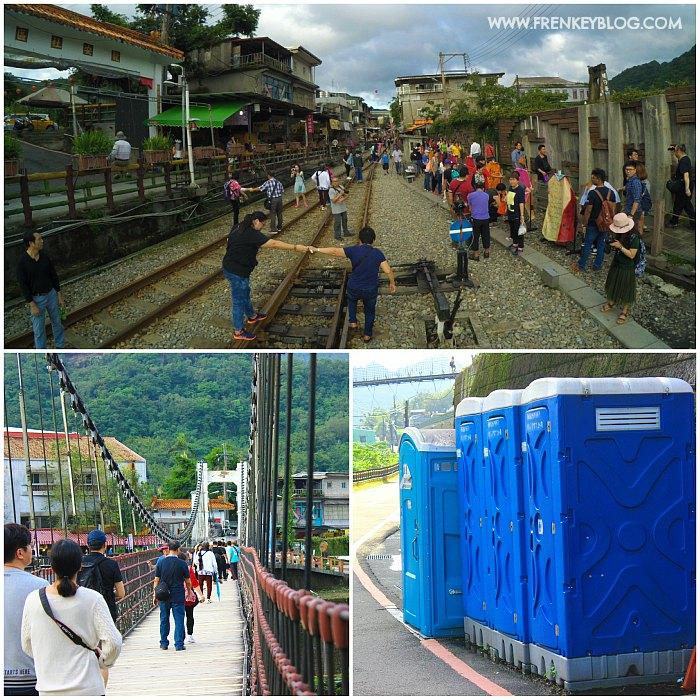 Rangkaian Rel Kereta yang masih aktif, Jembatan Gantung yang deg deg deg suer, Toilet Portable di Shifen yang bauuuu